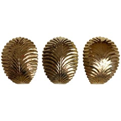 Set Of 3 Gold Palm Leaf Wall Lights, 1980s