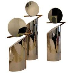 Set of 3 Graduating Size Chrome w Brass Lino Sabattini Style Candlestick Holders
