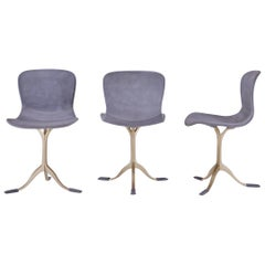 Set of 3 Grey Leather and Golden Sand Cast Brass Chair