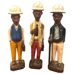 Set of 3 Hand Carved African Colonial Statues
