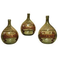 Set of 3 Hand Painted Antique Wine Demijohn Bottles from France, circa 1880