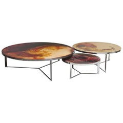 Set of 3 Hand Painted Rust Coffee Tables