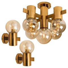 Set of 3 Hans-Agne Jacobsson Brass and Glass Light Fixtures, circa 1960