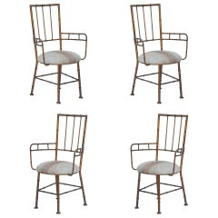 Set of 3 Iron and Calf Hide Armchairs