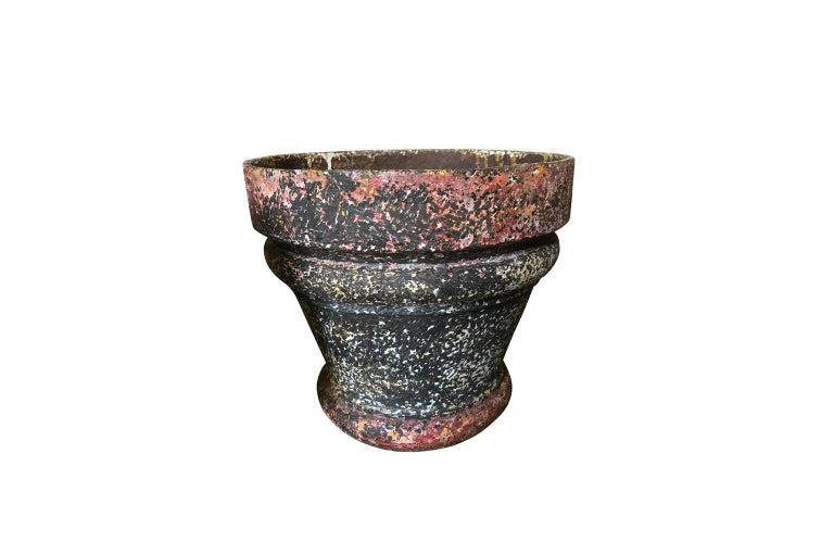 Set of 3 Iron Jardinieres, Cache Pots In Good Condition For Sale In Atlanta, GA