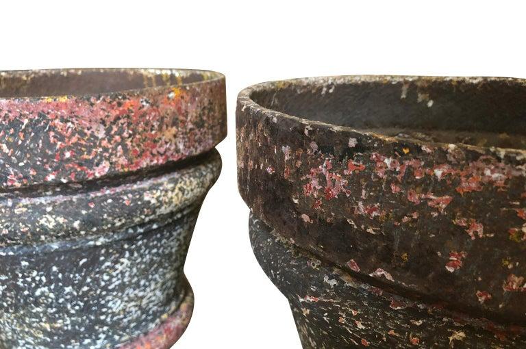 Set of 3 Iron Jardinieres, Cache Pots For Sale 1