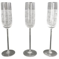 Set of 3 Italian Murano Champagne Glasses by Salviati