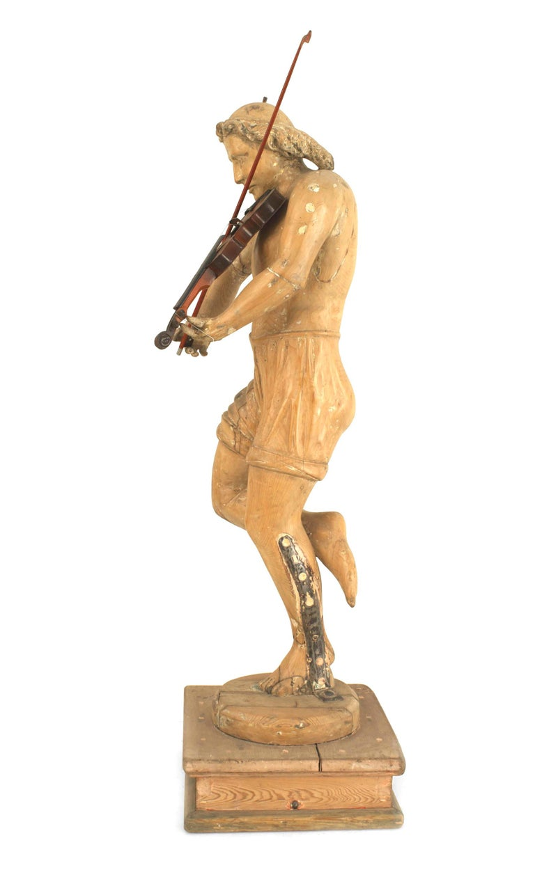Wood Set of 3 Italian Renaissance Musical Figures For Sale