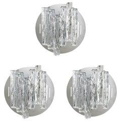 Set of 3 Italian Sconces w/ Flush Mounts w/ Clear Geometric Murano Glass c 1960s