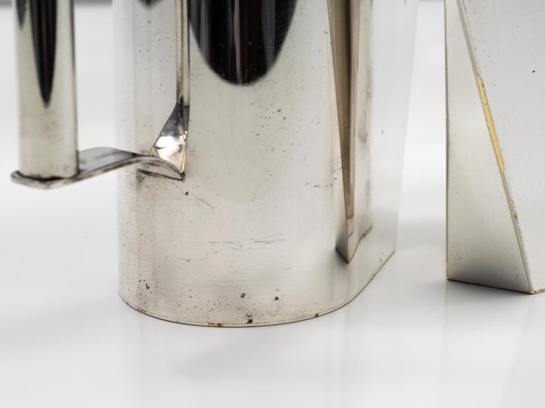 Set of 3 Silver Plated Modernist Pitchers Attributed to Cini Boeri, circa 1975 For Sale 1