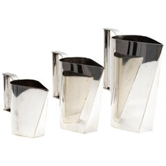 Set of 3 Italian Silver Plated Brass Modernist Pitchers, circa 1975