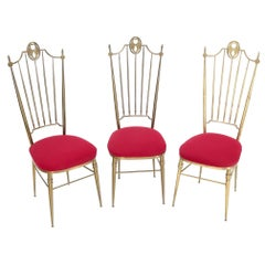 Set of 3 Italian Solid Brass Chiavari Chairs From 1950s New Upholstery