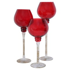 Set of 3 Italian Venetian Red and Gold Glass Goblets