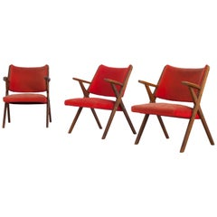 Set of 3 Italian Vintage Dal Vera Chairs, Italy, 1960s