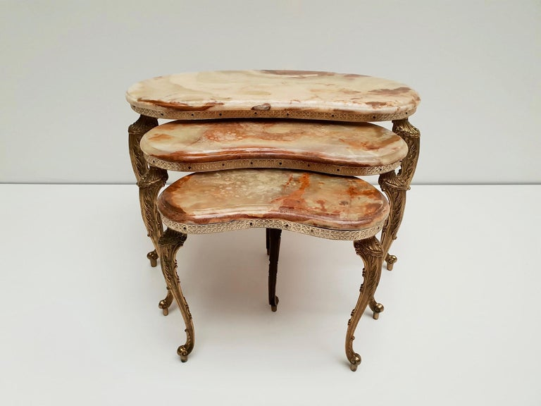 Set of 3 Italian Vintage Polished Brass and Marble Nesting Tables For Sale 9