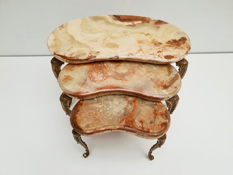 Set of 3 Italian Vintage Polished Brass and Marble Nesting Tables For Sale 10