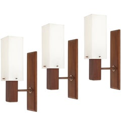 Set of Three Italian Wooden Teak, Brass and Perspex Mid-Century Modern Sconces