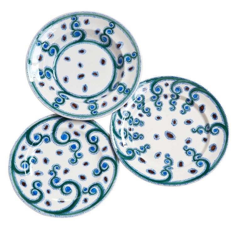 Set of Three Iznik Plates for 12