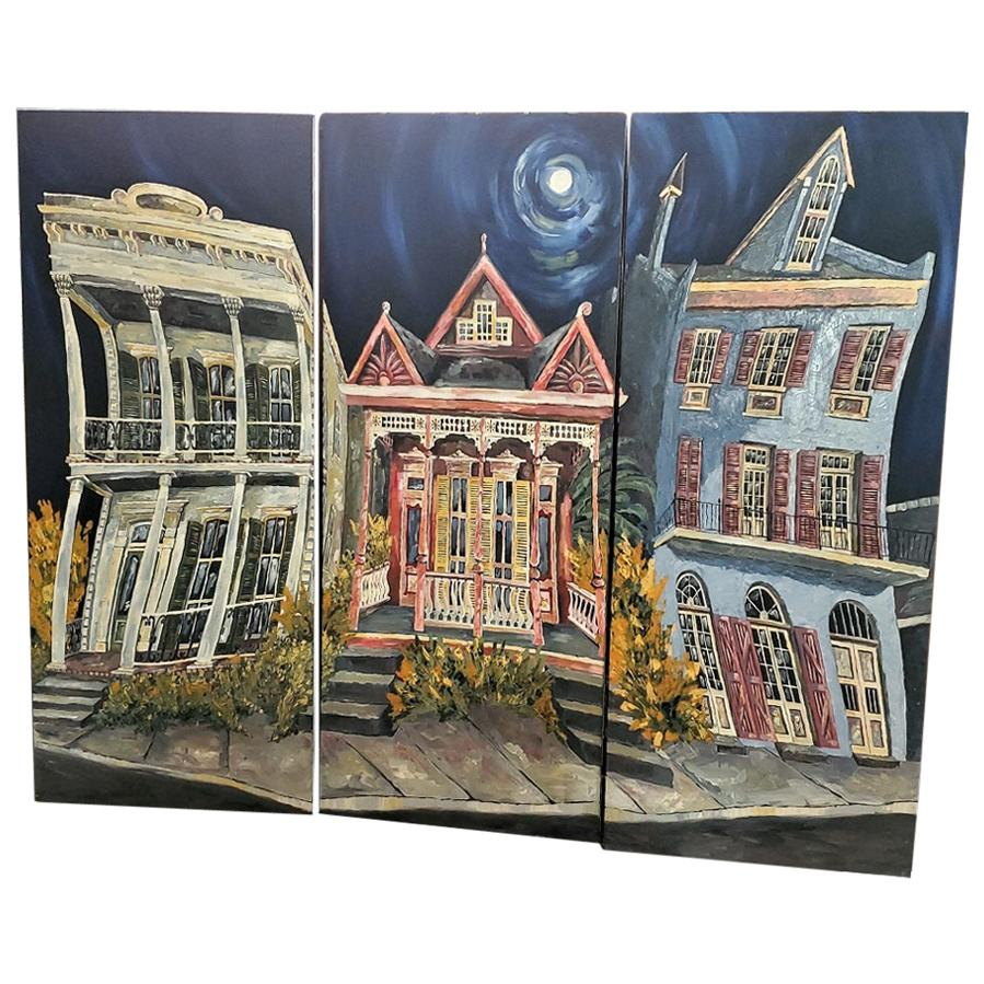 Set of 3 James Michalopoulos Oil on Canvas Panels, Outstanding