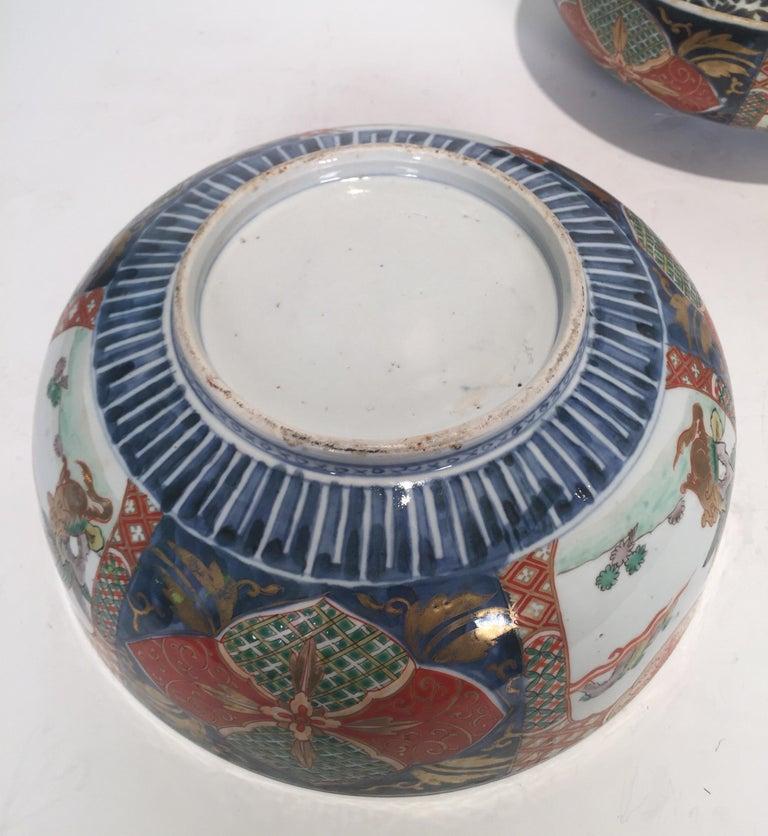 Set of 3 Japanese Imari Graduated Porcelain Bowls In Good Condition For Sale In Lambertville, NJ