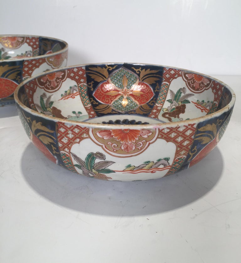 Late 19th Century Set of 3 Japanese Imari Graduated Porcelain Bowls For Sale