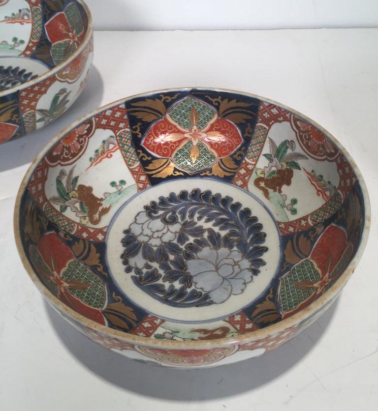 Set of 3 Japanese Imari Graduated Porcelain Bowls For Sale 1
