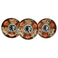 Set of 3 Imari Porcelain Plates, Pomegranate Pattern Late Meiji, circa 1900