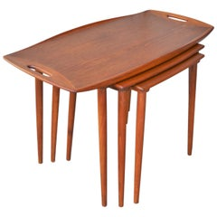 Set of 3 Jens Quistgaard Teak Nesting Tables with Handles and Flared Edges
