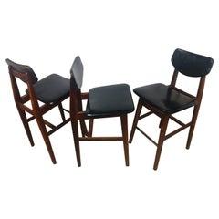 Set of 3 Jens Risom Mid-Century Modern Walnut Bar Stools