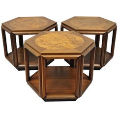 Set of 3 John Keal Brown Saltman Burl Wood Hexagon Mid-Century Modern Side Table
