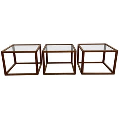 Set of 3 Kai Kristiansen Rosewood Cube Tables, Denmark, 1950s