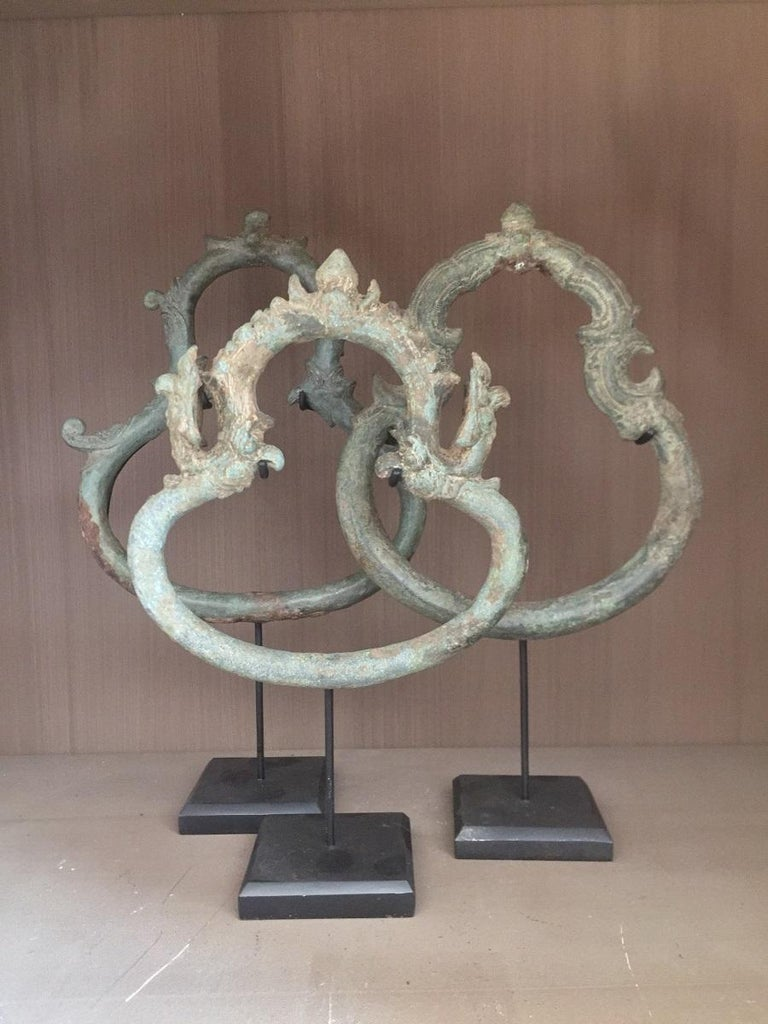 Set of 3 Khmer Bronze Palanquin For Sale 7