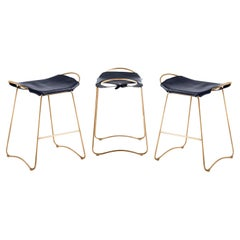 Set of 3 Kitchen Counter Stool Aged Brass Steel & Navy Saddle Contemporary Style