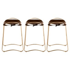 Set of 3 Kitchen Counter Stool Brass Steel Dark Brown Leather Contemporary Style