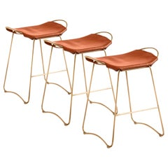 Set of 3 Kitchen Counter Stool Brass Steel & Tobacco Leather Contemporary Style