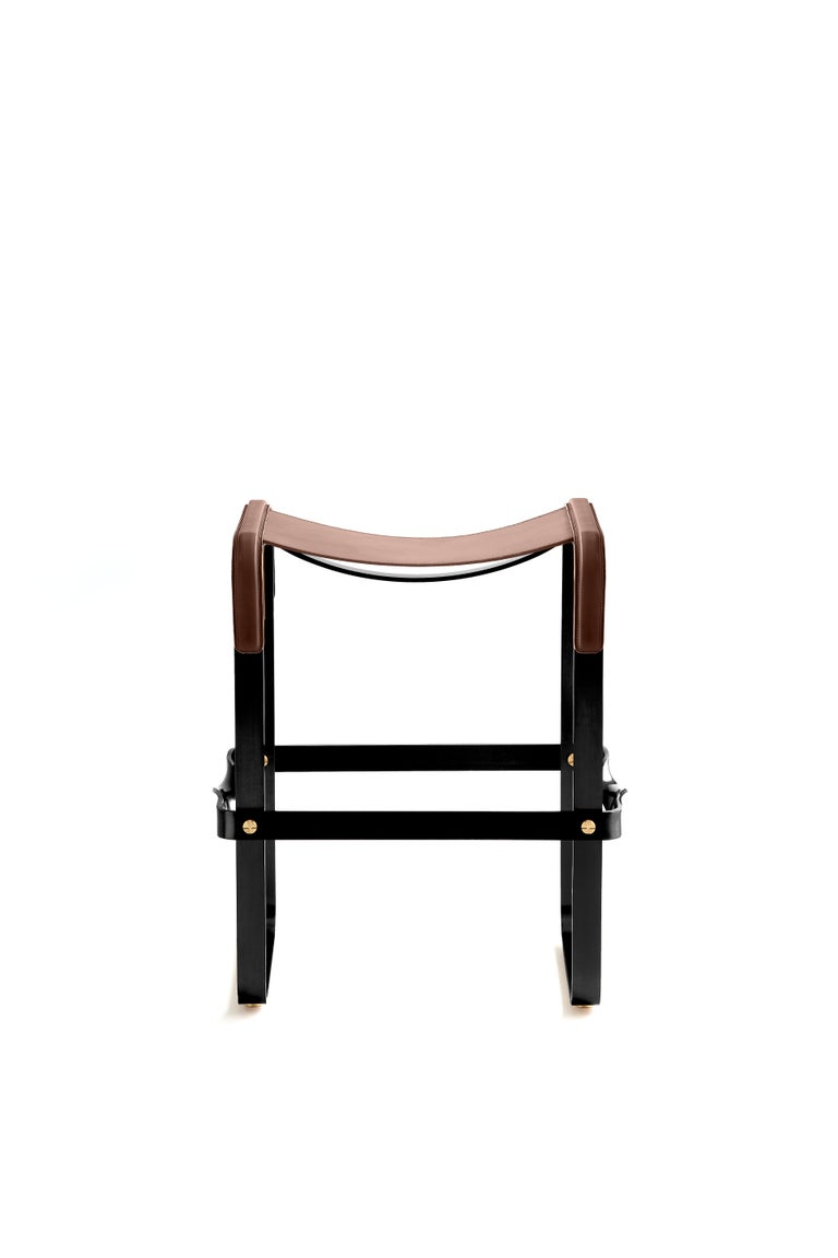 Modern Set of 3 Kitchen Counter Stool, Contemporary Design, Black Steel & Brown Leather For Sale