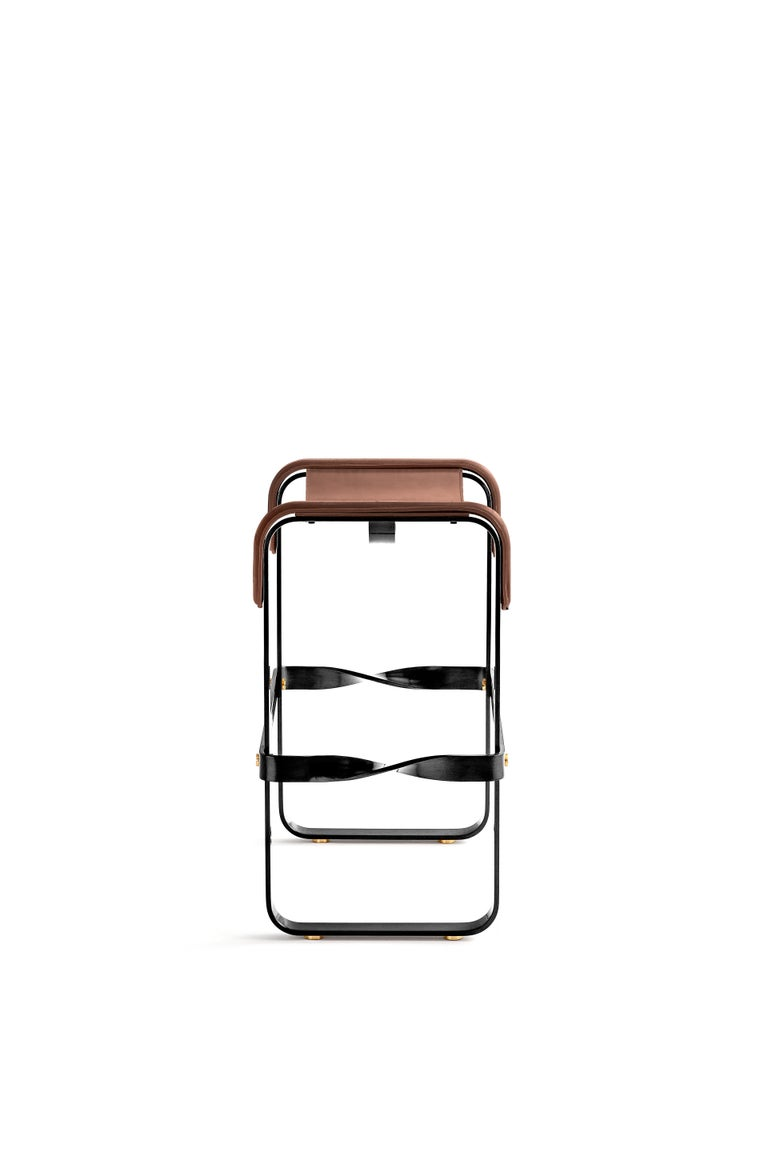 Spanish Set of 3 Kitchen Counter Stool, Contemporary Design, Black Steel & Brown Leather For Sale