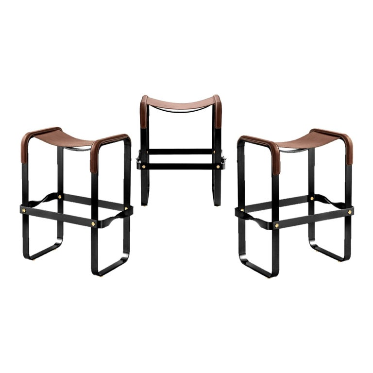 Set of 3 Kitchen Counter Stool, Contemporary Design, Black Steel & Brown Leather For Sale
