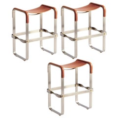 Set of 3 Kitchen Counter Stool Contemporary, Old Silver Steel & Tobacco Leather