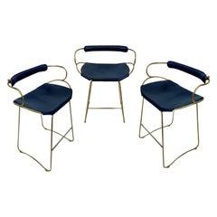 Set of 3 Kitchen Stool w Backrest Brass Steel & Navy Leather Contemporary Design