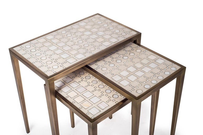 Set of 3 Klimt Nesting Tables in Shagreen, Shell, and Brass by R&Y Augousti For Sale 4
