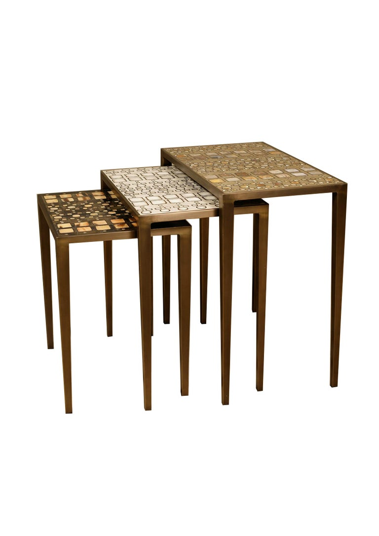 Set of 3 Klimt Nesting Tables in Shagreen, Shell, and Brass by R&Y Augousti For Sale 5