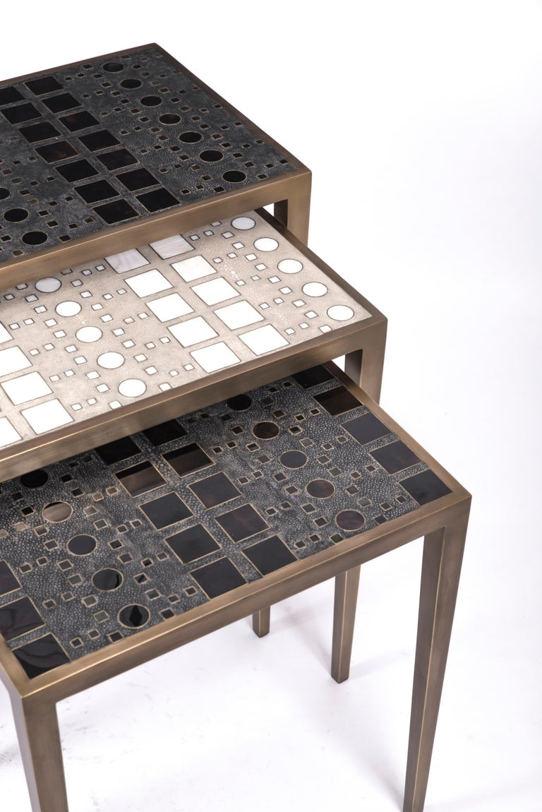 Art Deco Set of 3 Klimt Nesting Tables in Shagreen, Shell, & Brass by R&Y Augousti For Sale