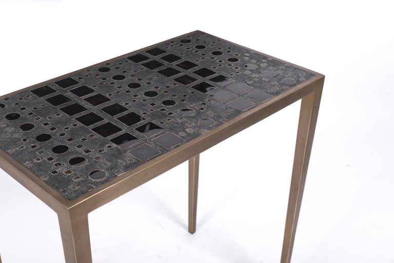 Hand-Crafted Set of 3 Klimt Nesting Tables in Shagreen, Shell, & Brass by R&Y Augousti For Sale