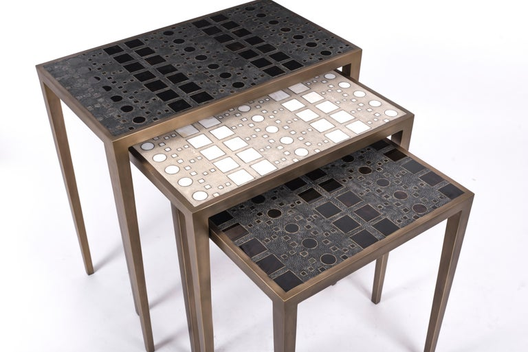 Hand-Crafted Set of 3 Klimt Nesting Tables in Shagreen, Shell, and Brass by R&Y Augousti For Sale