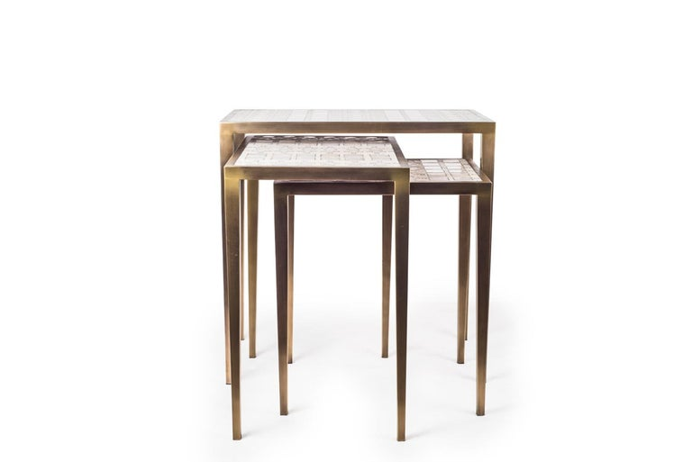 Set of 3 Klimt Nesting Tables in Shagreen, Shell, & Brass by R&Y Augousti For Sale 1