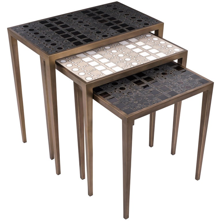 Set of 3 Klimt Nesting Tables in Shagreen, Shell, and Brass by R&Y Augousti For Sale