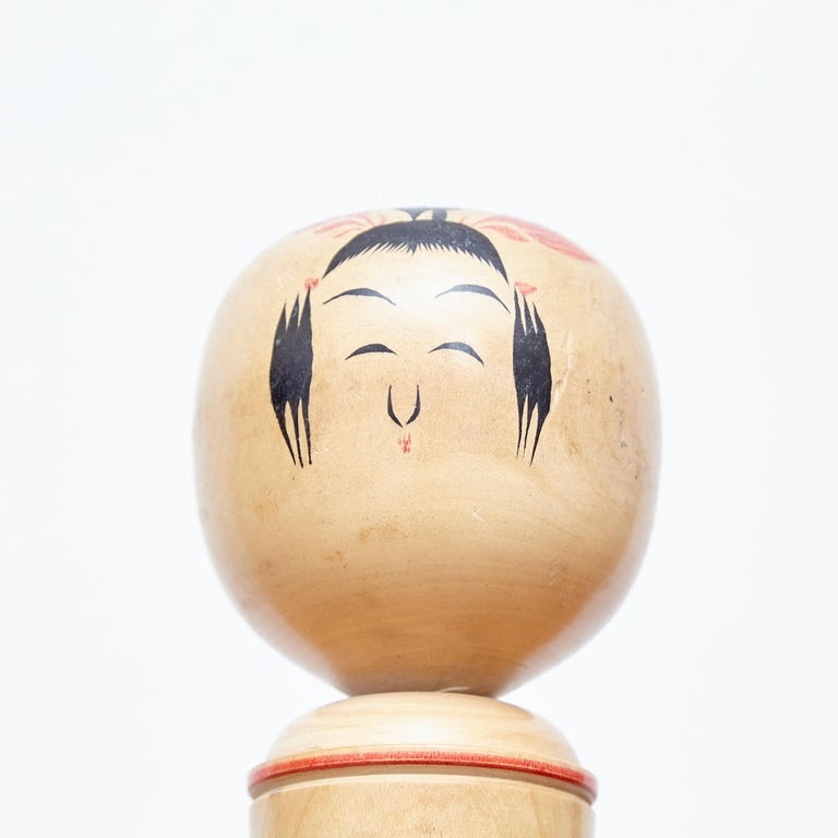 Set of 3 Kokeshi Japanese Wood Hand Painted Doll For Sale 5