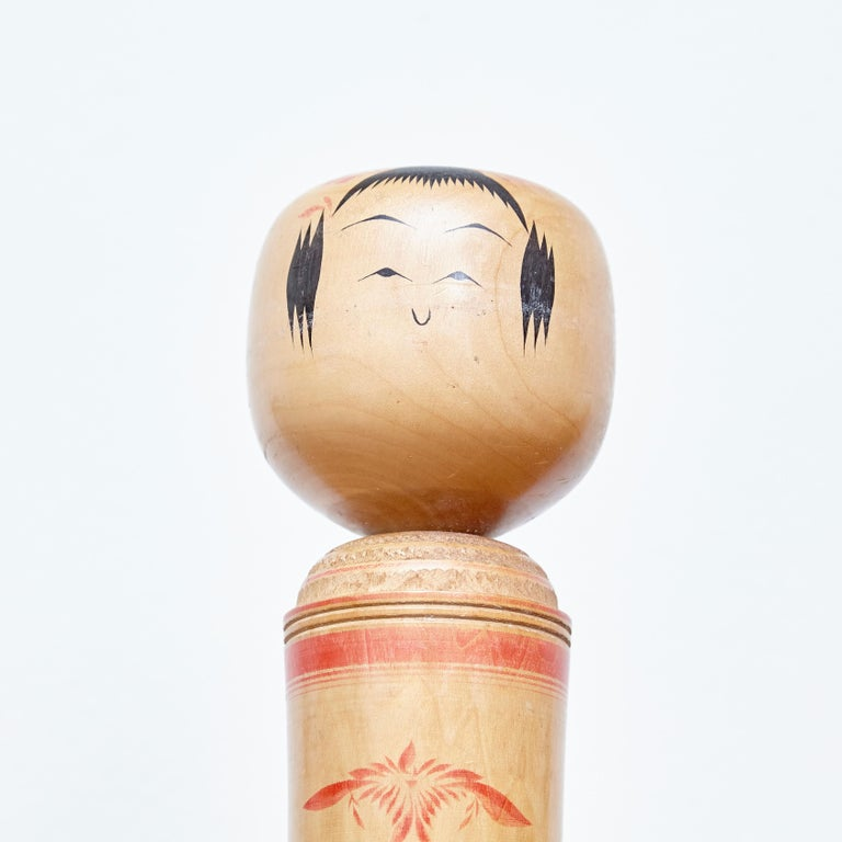 Set of 3 Kokeshi Japanese Wood Hand Painted Doll For Sale 2