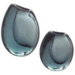 Set of 3 Kosta Vicke Lindstrand Organic Glass Vases Grey Blue Sweden 1950s-1960s